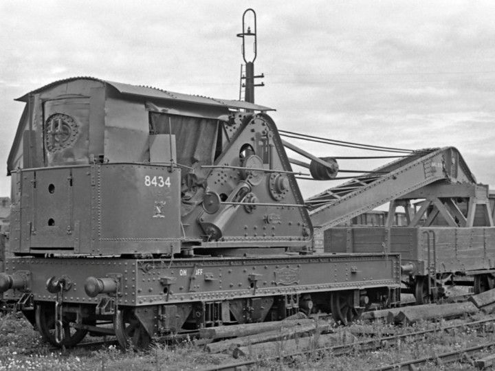 31/7/1961: GNR Steam Crane 2 renumbered as UTA 8434 with match wagon 8435 at Adelaide shed. (E.M. Patterson)