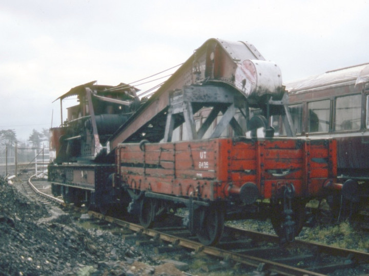 6/12/1980: GNR steam crane, just after arriving at Whitehead. (C.P. Friel)