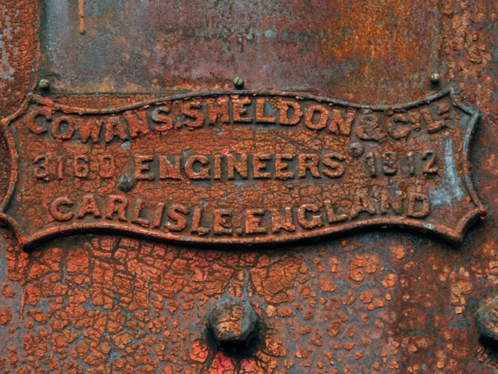 7/11/2012: Small maker's plate on Steam Crane 2. (C.P. Friel)