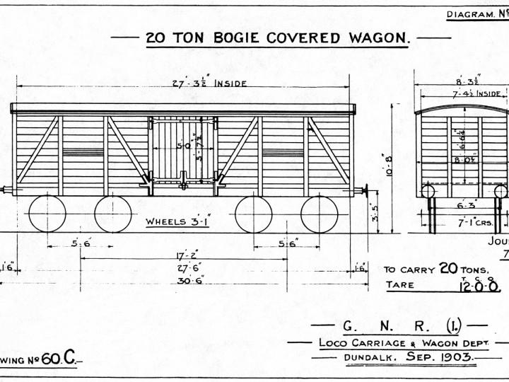 1903: GNR(I) Diagram 18 - 20 ton bogie covered wagon.