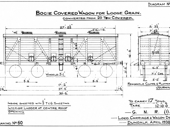 1938: GNR(I) Diagram 19 - 20 ton bogie covered wagon converted for loose grain.