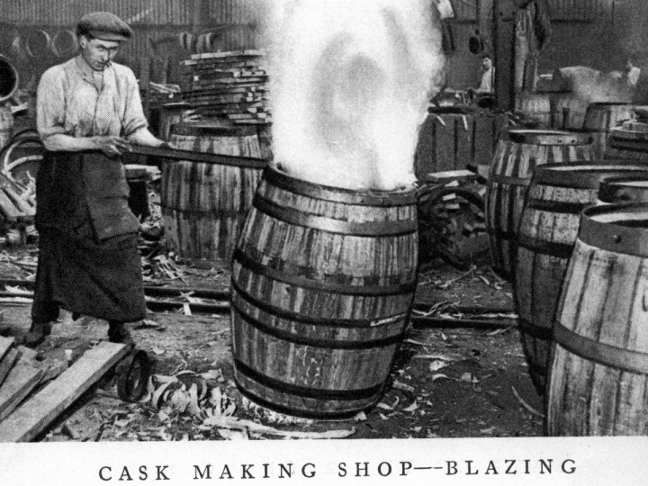 1939: Cask making shop at Guinness' brewery - from Guinness guide book.