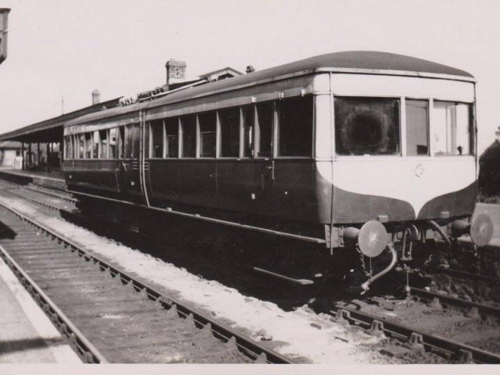 LMS NCC diesel railcar No.1 at Greenisland on 13th May 1950. (Courtesy Old Carrickfergus Postcards)