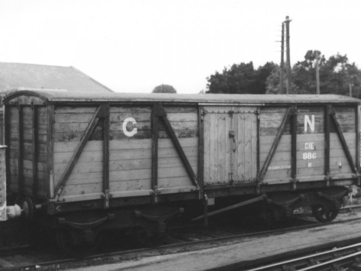 3/6/1962: Guinness van 886, with many renewed timbers, in Drogheda goods yard. (D. Coakham)