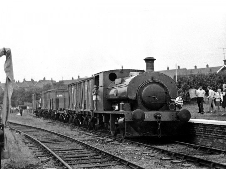 3/7/1971: The vans in a replica goods train with No.3BG 'Guinness' at a Whitehead Open Day. (C.P. Friel)