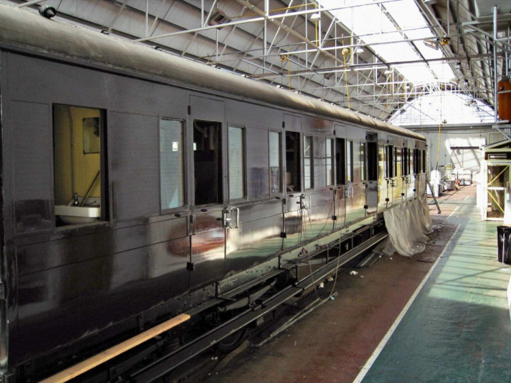12/5/2008: The carriage undergoing restoration at Inchicore. (R. Joanes)