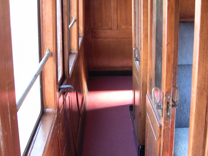 First class end of corridor, now in mahogany after restoration, 23rd April 2011. (M.Walsh)