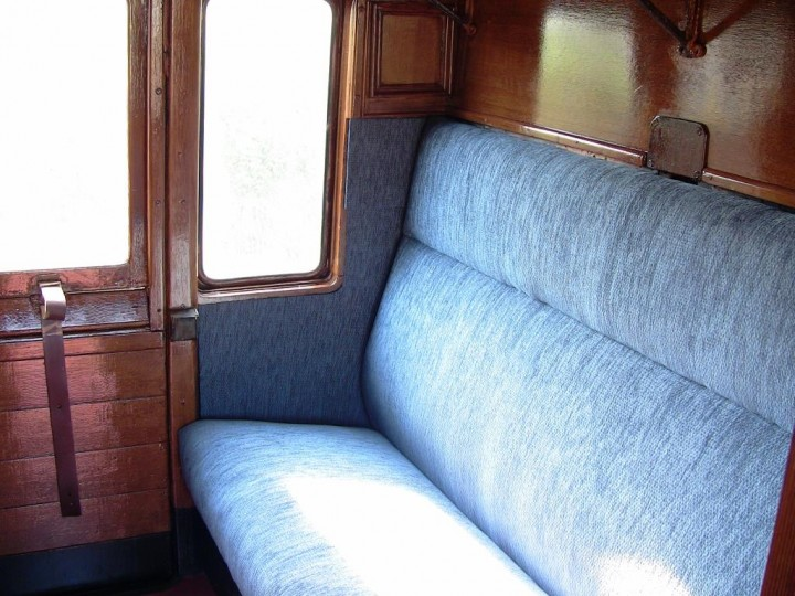 First class compartment after restoration in walnut scumble, 23rd April 2011. (M.Walsh)