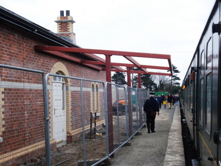 1/4/2013: The Easter Eggspress brings public trains to the as yet unopened station. (P. McCann)