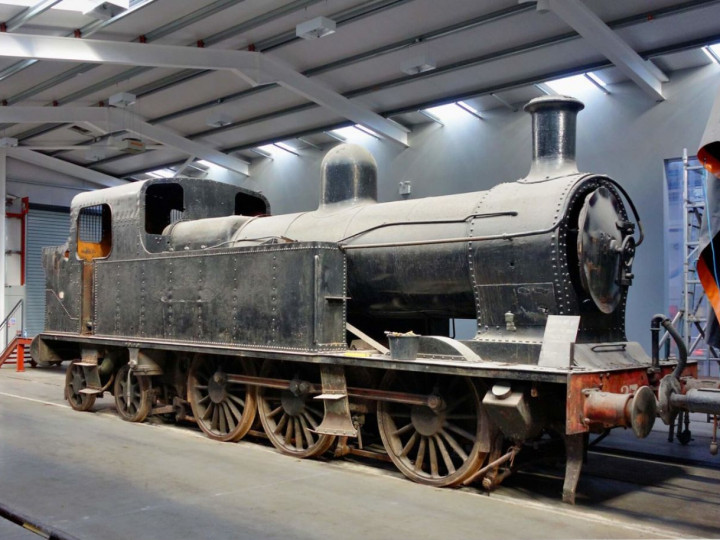 5/11/2016: A well-composed view of the locomotive in the sheds at Whitehead. (R. Joanes)
