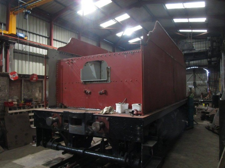 No.131's new tender body under construction on an existing GNR(I) tender underframe (No.37) at Whitehead on 29th October 2016. (P.McCann)