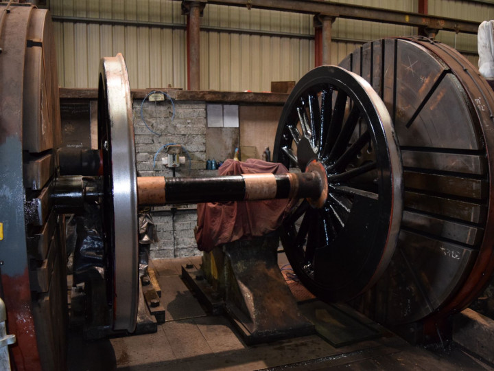 8/3/2020: No.105's driving coupled wheelset in the lathe for machining of journals. (R.B. Hill)