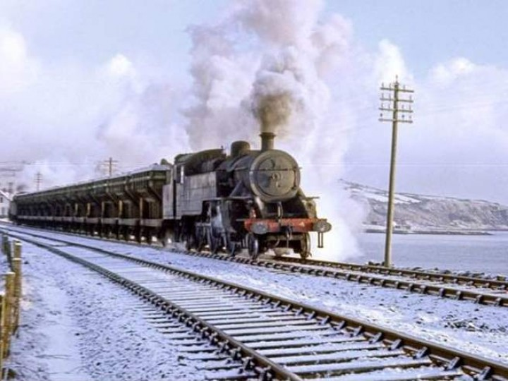 No.4 on a winter's day in 1968 leaving Whitehead with a loaded spoil train. (IRRS)