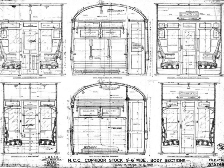 Original NCC compartment plans which were consulted during restoration.