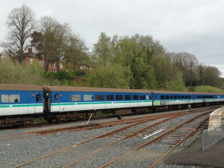 The five coaches stored at Lisburn. (J.King)
