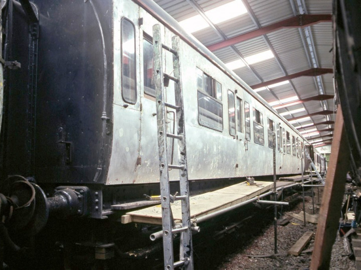 6/3/1993: GNR 9 stripped to the bare metal in the carriage shed. (C.P. Friel)