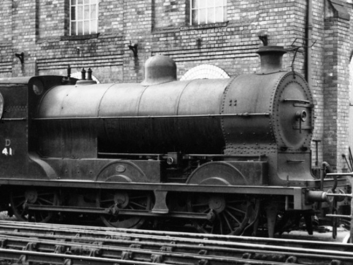 The full-size No.202 in 1956 alongside the Fitting Shop at Dundalk, having been renumbered 41. (P.Mallon Collection)