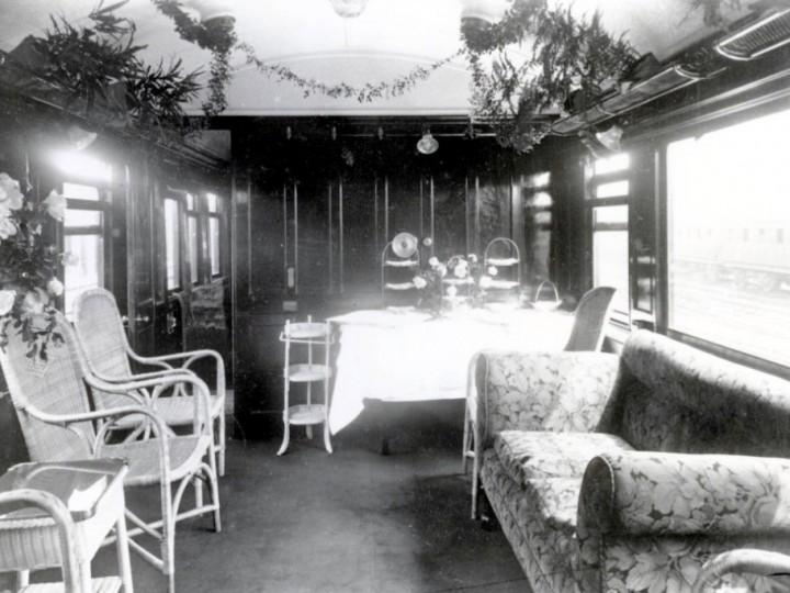 The saloon decorated for a special occasion. date unknown. (Duffner R501)