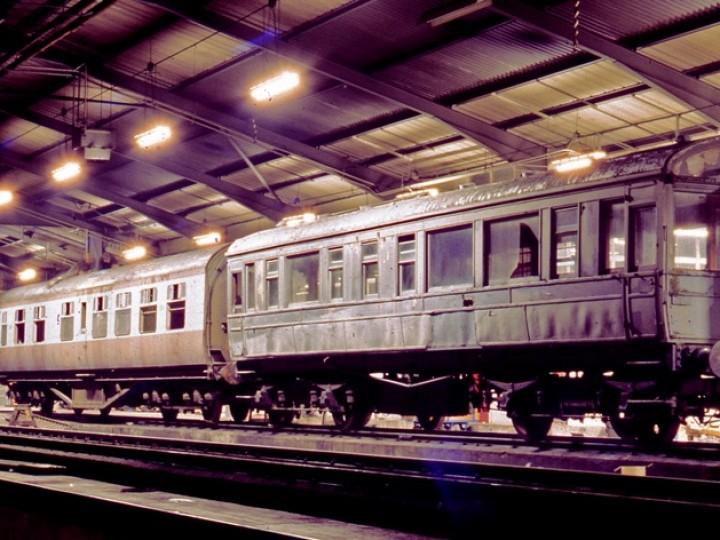 RPSI carriages 87 (UTA diner) and 50 (GNR Saloon) in NIR's York Road running shed, late 1970s. (C.P.Friel)