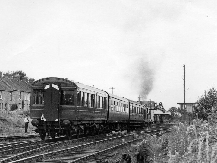 Newly-overhauled 50 passing Greenisland on the special conveying NI Minister Michael Allison from Belfast to Whitehead, 4/7/1981. (J.A.Cassells)