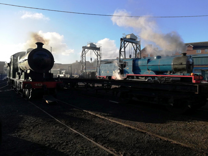 28/10/2018: No.461 and No.85, both in steam for the 'Broomstick Belle', have the gantries as a backdrop. (N. Ryan-Purcell)