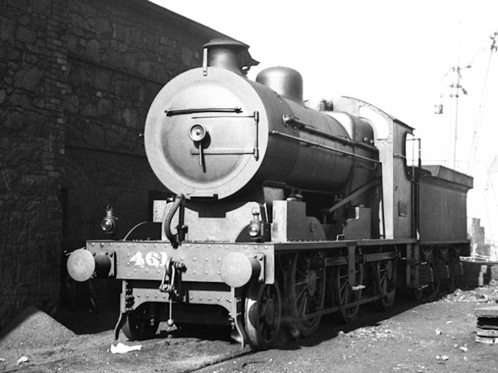 No.461 at Grand Canal Street shed in Dublin in GSR days. The livery is (probably) a plain grey similar to that presently carried by No.186. She carries the original Beyer Peacock boiler. (H.R.Newey)