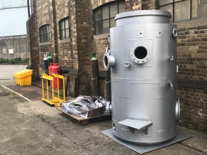 15/10/2021: The van's steam-heating boiler at Inchicore, recently returned from overhaul by Concorde engineering. We must credit the Heritage Council for grant assistance in making the overhaul possible. (P. Rigney)