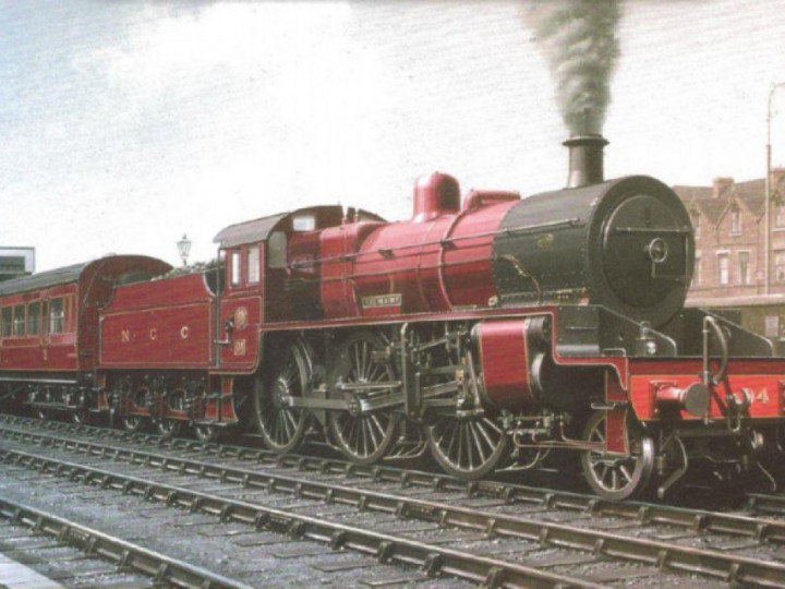Painting of a mogul at Portrush. Note the original low-sided tender. (Courtesy Lord O'Neill)
