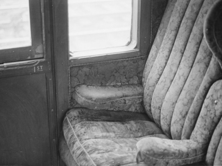 1969: The upholstery in the First Class compartment. (M.H.C. Baker)