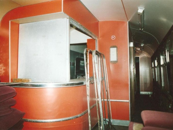 The interior of the carriage was finished mainly in this hectic orange hue - it was fashionable in the seventies! The bar was to be greatly lengthened from the small incarnation seen here.