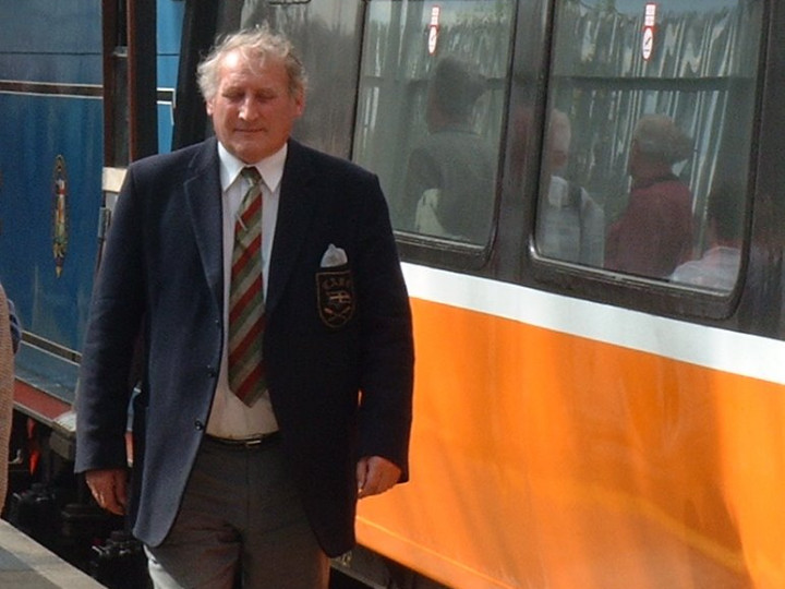 11/5/2002: Seen at Athlone is Tony Dean, architect for the Whitehead Excursion station building. (A. Williamson)