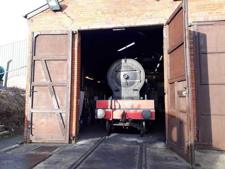 22/12/2018: No.85 'Merlin' in the shed on a bright winter day. (P. McCann)