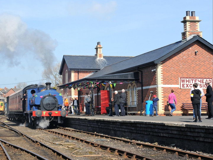 6/4/2019: It's a train rides day for No.3BG's centenary, and the building is festooned and busy. (C.P. Friel)