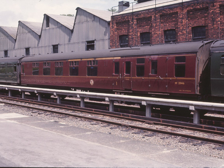 1966: As a First/Second brake, the vehicle is photographed at Bournemouth Central whilst still in BR ownership. (T. Robbins).